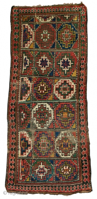 Antique Kazak or Mogan rug with issues... cm 220x88