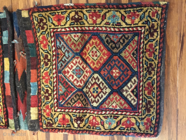 "Kurdish pile khorjin. NW Iran. 41""X19"".  Circa 1900. Wool. All natural dyes. Fine condition."