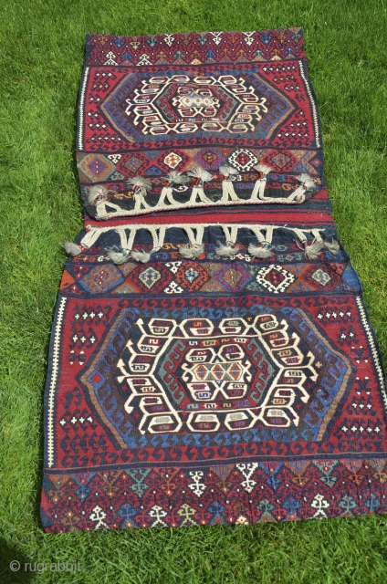 """Antique flat woven heybe, East-Central Anatolia (Malataya-Sinan area), 5'1"""" X 2'4"""". Circa 1900. Wool with metallic thread in areas. Rich palette of natural dyes. Nearly perfect condition. Opened along sides."""