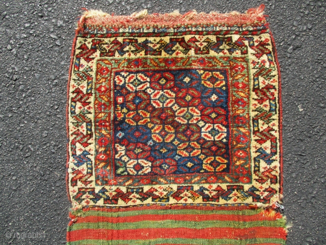 Quashgai bagface, early, fabulous wool and 12 great colours used,soft silky handle,  a small gem