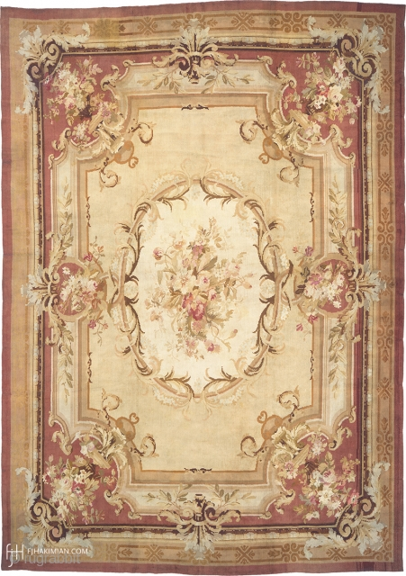 """Antique French Savonnerie Rug France ca.1890 19'0"""" x 13'1"""" (580 x 399 cm) FJ Hakimian Reference #03174"""