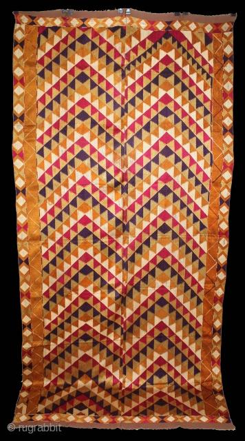 Phulkari From West(Pakistan)Punjab India Called As Panchrangi Lahariya Design. Beautiful colour Combination of Panchrangi (Five Coloured One) Bagh. Floss Silk on Hand Spun Cotton khaddar Cloth.(DSL02950).