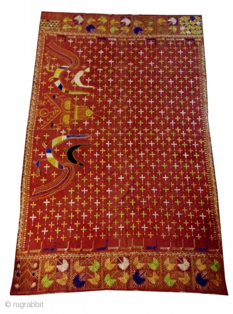 Phulkari from East Punjab,India Known As star Buti with Very Rare Design. condition is good but there is small stain in it