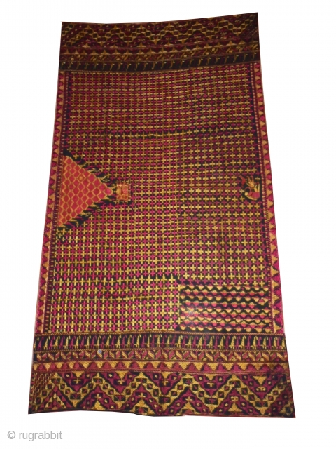 Phulkari from East (india) Punjab India Known As Indigo Black Buti Very Rare Influence of Ghughat with Figure Design Very Rare and very Good conditions kind of Phulkari(DSC00058)