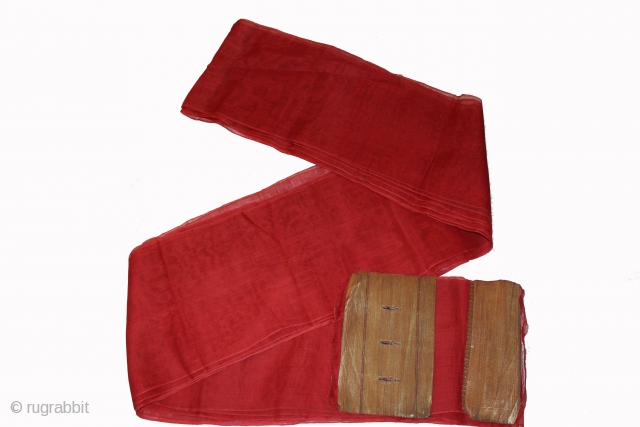 "Turban cloth like these in cotton Zari. Red is popular with royals family.Rajasthan.India. length 15 to 18 miter,wide 29""cm.Good condition From Varanasi.(DSC00408)"