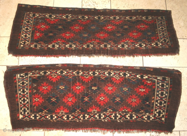 Pair of Yomut torbas, late 19th century. Colours good, no tip-fade or colour run. Each approximately 17in by 43in