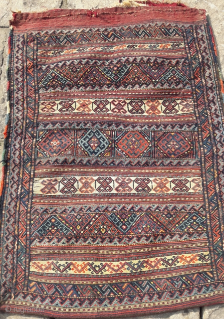 Large antique Kordi grain bag, good colours, great condition
