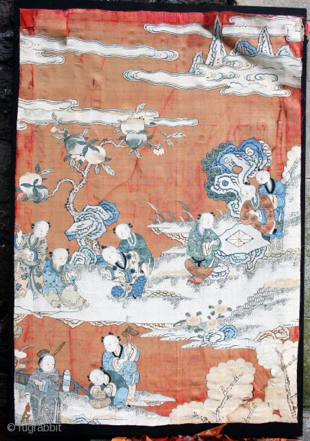 Chinese painted kossu panel, mounted, in delicate condition. 70cm by 47cm