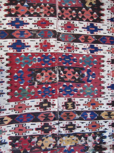 West Anatolian Kilim...Cine/Aydin....before 1850....all excellent vegetal dyes....approx. 5' x 10' ( 150cm x 300 cm ) condition as shown