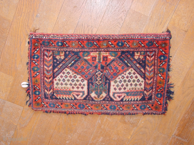 wonderful antique full pile complete afshar chanteh bag , original kelim bacl, in kelim back one very smal smallest fingertip size wear, no stains, no repairass, great complete selvedges, great natural colors