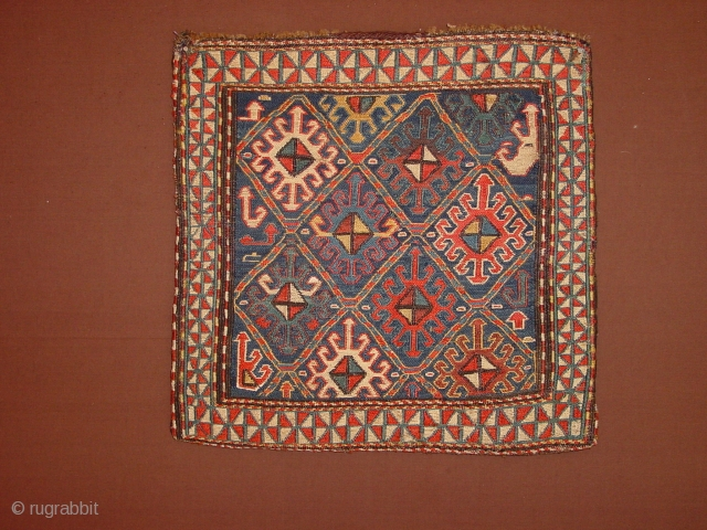 gorgeous, soumack bag, original kelimback, the selvedges of the soumack frons are with a few dots of red ink colored,  42x40cm 1.4x1.35ft