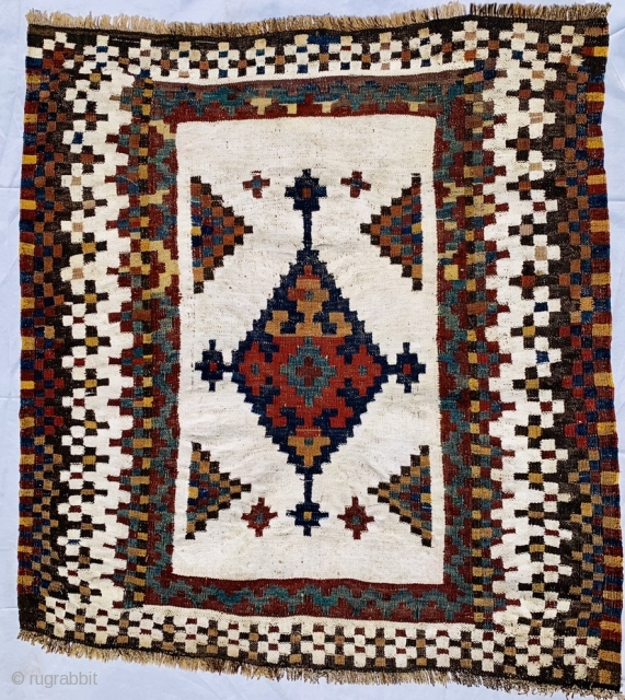 Bakhtiyari sofreh 1880 circa,the white color is all in Cotton,size 120x110cm
