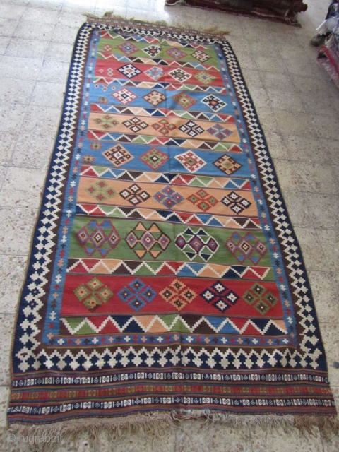 ghashgai kilim,only 2 tiny holes(not important for restoration)Size:340x145 cm,all colores are good