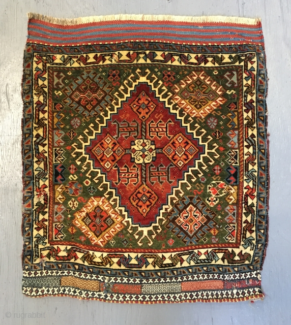 ca.1900 Silk wefted Qashqai bagface, wonderful natural colours excapet one red colour ,, size 65x57 cm  2.2x1.7 ft