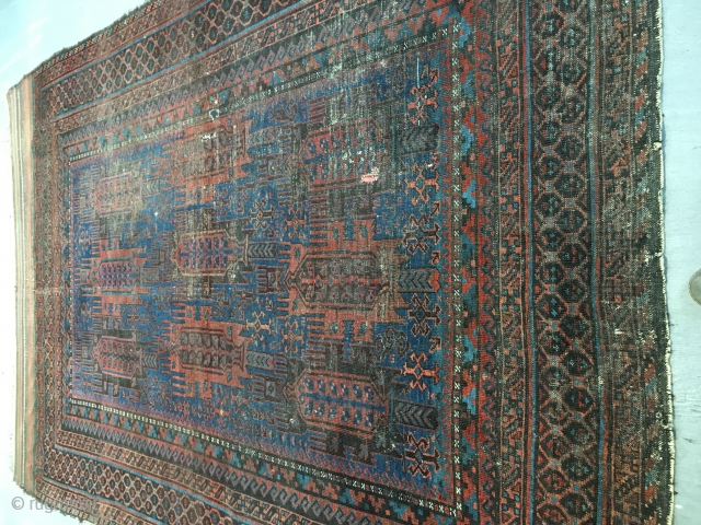 Aca.1880 Baluch rug with unusual s border all natural colours with nice blue background colour, size 290x204 cm 9.7x6.9 ft