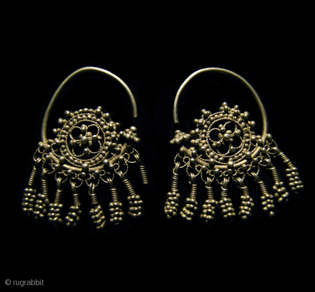 Old Uzbek Silver Hoop Earrings 