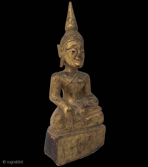 Lovely 19th century Thai Gilded Buddha 25cm x 8.5cm Script on the base - possibly a sutra  Please enquire for further photos and price