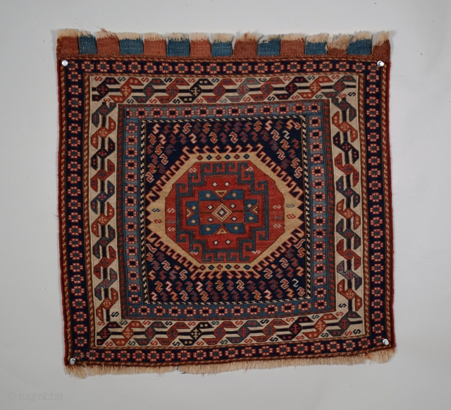 """Shahsavan bag face, Khamseh region, NW Persia, size 21"""" x 21"""" (54 x 54 cm), circa 1875, fine weave with cloth-like handle, all natural dyes, excellent condition, professionally washed and clean, multiple  ..."""