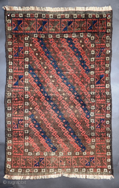 """Baluch rug, 32"""" x 49"""" (78 x 124 cm), symmetrical knotting, natural dyes with two shades of red, one being the more traditional tonality, the other with hints of raspberry and/or brown,  ..."""