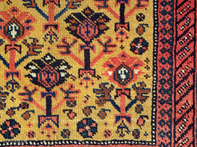 """Afshar rug with manifest Turkmen design influences, unusual field composition with folk-art milieu,  33"""" x 53"""" (83 x 134 cm), all natural dyes, end constructs in excellent condition, professionally washed."""