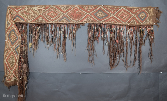 "Rare Kungrad yurt hanging, decoration for the yurt interior is not unusual but for some reason few in this style have survived, the band size is 7.5"" x 95"" (+/-), the tassels  ..."