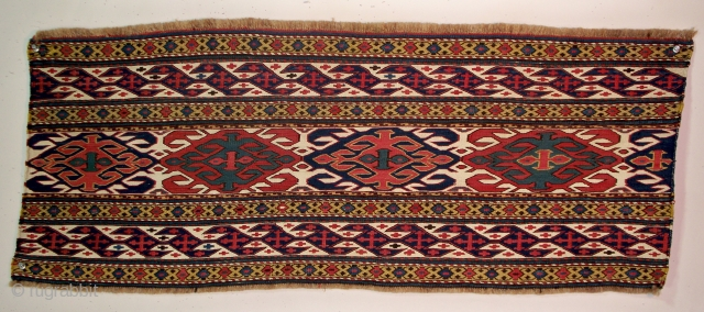 "Qarabagh Side Panel (#344), Central Transcaucasia, 16"" x 38"" (+/-), this side panel has the long, narrow dimensions common among Qarabagh mafrash, the borders feature the 'abdul burum' motif on a palette  ..."