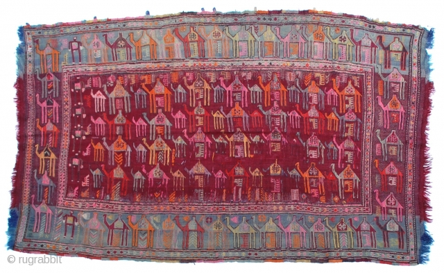 """Caucasian Verneh Camel Caravan flat-weave rug heavily woven with wonderful colors and richly embellished sumac weaving of the camels. 66"""" x 108"""""""