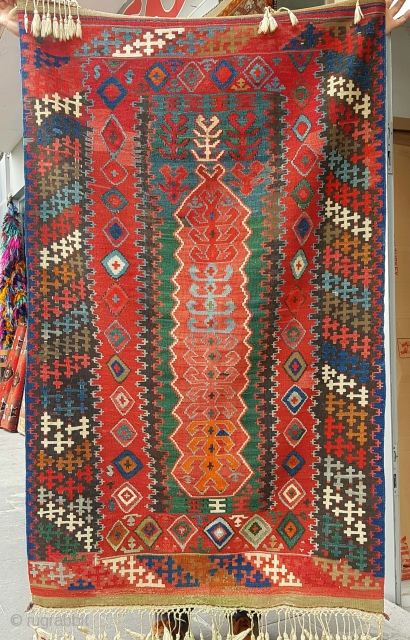 Size : 105 x 170 (cm), Middle anatolia (konya), in my opinion, they touched for his fiancée in the military, and when they arrived, they married. because the rugs were finished with lively colors...