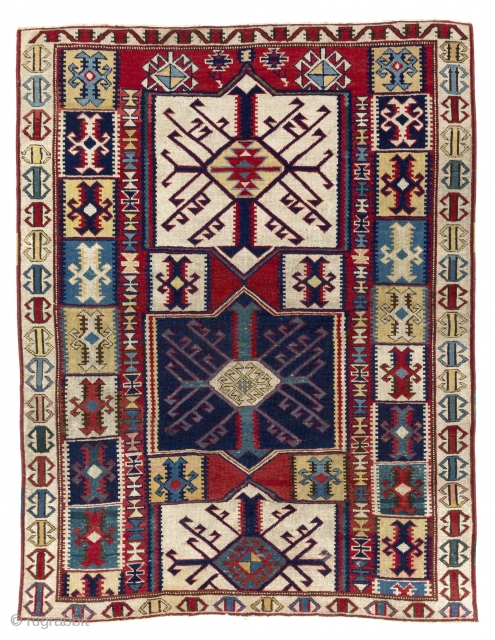 Exceptional and colorful North East Caucasian Kuba pile Rug with Kilim Design, 3.8 x 4.9 Ft (112x145 cm). ca 1890. Good condition, original as found, not reduced, cut or such.