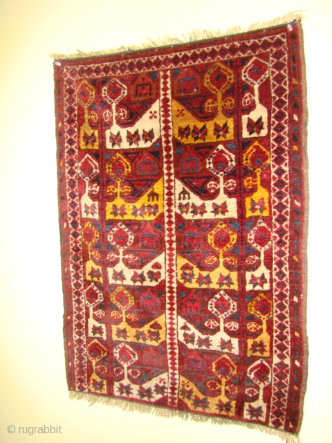 19th c. Turkoman Ersari Beshir small rug, perhaps a child's prayer rug? Size: 24 X 34 inches or 61 X 86 cm. Finely woven with good pile and floppy blanket like handle.  ...