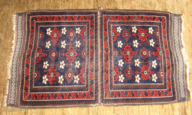 """Pair of Minakhani Bagfaces stitched together. (32""""X56"""") Each bag is around 32""""X28"""" Soft and pliable with great colors."""