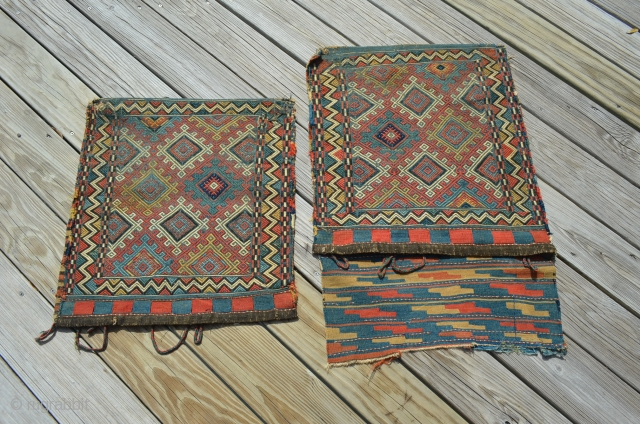"Shahsavan Soumak Bags, separated after birth, each bag measures approximately 21"" x 22.5"". We don't know why they were separated, but we're selling the pair - to be reunited or not. Wonderful  ..."