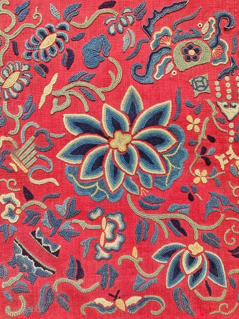 "An an exceptional antique Chinese silk embroidery from Qing dynasty. Dating to the 19th century, the fine stitch used in this piece is referred to as ""the forbidden stitch""; the romantic explanation  ..."