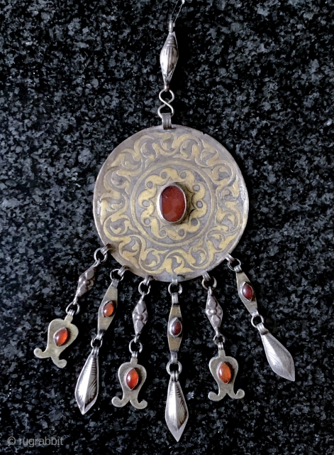 A very rare mid 19th century Tekke Turkoman / Turkmen Bridal Silver and Gold Jewelry known as Girda or Gulyakhan. They were worn as large elaborate pendant or brooch type of jewelry  ...