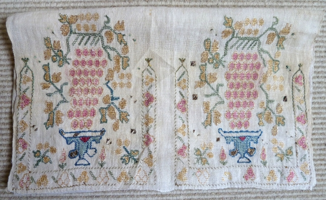 An attractive Ottoman or Greek Island embroidered panel, silk and metal thread on linen. Chalices with bunches of grapes. 40 x 98 cm. Circa 1800.