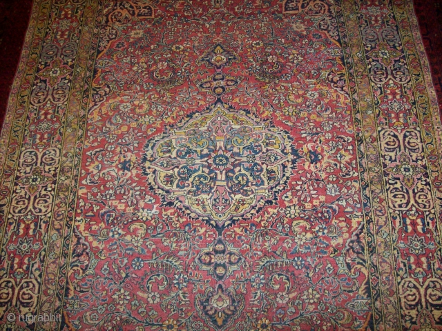 """Persian Isfahan """"Ahmed"""" Over 100 years low pile no repair except new fringes almost 4 * 7 ft"""