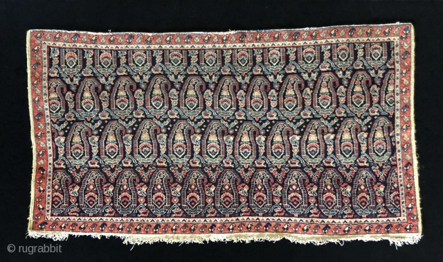 Persian Senna bag face.  Fine, single wefted, cotton foundation.  19th century.