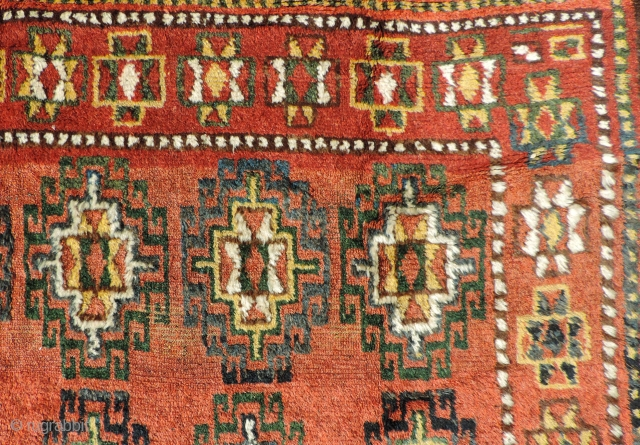 Central Asian Main carpet.  19th century. Size: 69 x 117 inches. George O'bannon published a closely related example in his Kazakh and Uzbek Rugs from Afghanistan, 1979 (plate #1).  He  ...