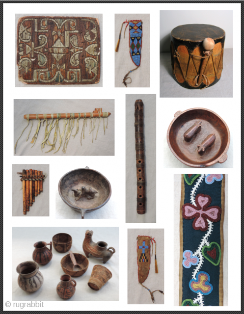 A random selection of interesting, authentic, native artifacts from the Americas - North and South.  Bead and quill work, wind and percussion instruments, ceramics, leather and fabric. All antique, some ancient  ...