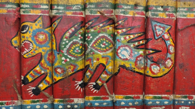Detail of one of two indigenous Bolivian dance decorations. Both of these pieces were worn over the shoulder in various ceremonial dances performed by the Aymara Indians of the Bolivian Altiplano. Constructed  ...