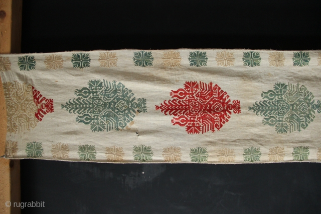 Pair of Rhodes embroideries, early 19th century, fragments of curtains that would have served on the matrimonial bed. Embroidery is in good condition although there are some water marks, which will most  ...