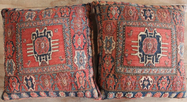 Pair of Shahsavan Soumac saddlebags made in to very attractive pillows. Circa 1900 all natural dyes.