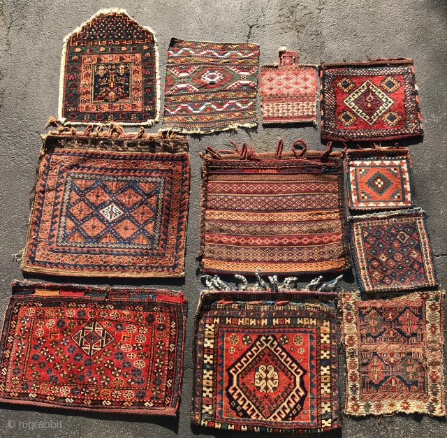 Bargain basement bags. $20-$185. Pict 1 (Luri bag with nice back 24x25; Kilim chanteh with striped back 12x12; Shahsavan sumac bag with all cotton back 15x13). Pict 2 (large Afshar bag with  ...