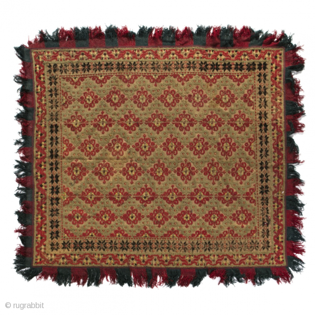 Beautiful Antique late 18th century Spanish Alpujarra Rug / becdcover L 230 x W 196 cm  Alpujarra rugs or bed covers, produced in the Alpujarra mountains south of Granada on the Iberian Peninsula, Alpujarra  ...
