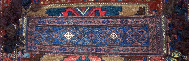 """Unusual Baluch trapping, 29""""x8"""" (excluding tassels).  Very good condition with great blues.  Please check out my other items.  More photos are available at http://picasaweb.google.com/joseph.beck/BagsTrappingsAndFragments#"""