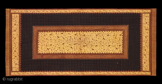 TE01400 1940s Kudhung Batik Tulis, woman's head shawl, cotton with hand drawn and hand block-printed resist patterns.  Natural dyes, Malay people, North coast Java for export to Sumatra. Indonesia.      52  ...