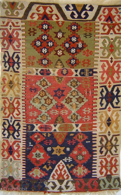 Petite Central Anatolian 3-compartment kelim, wool with white cotton highlights. Possibly 18th century.