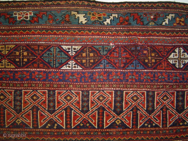 Unusual, large antique Afshar or Lori sumak panel, 5 feet wide. Formerly Michael Craycraft collection.