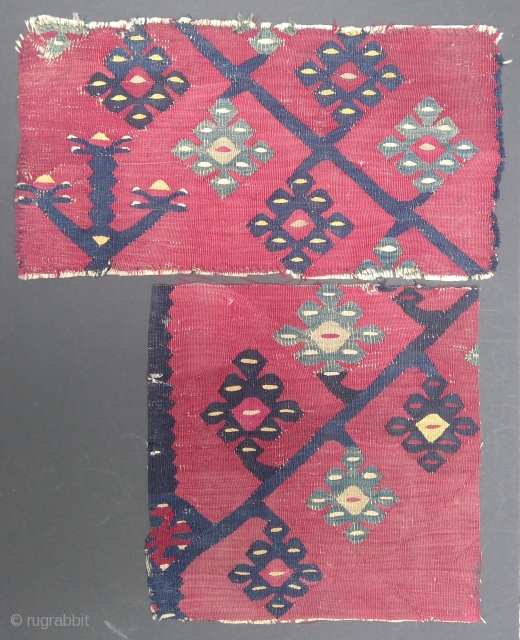Two fragments of a very old Thracean Pirot Tree kilim, 46 x 24 cm and 32 x 32 cm.