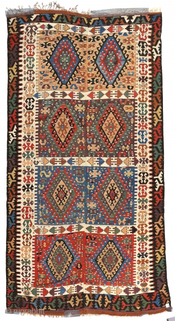 """Antique Anatolian long kilim fragment, 5'4"""" x 10'3"""". Reduced at top of field. Excellent condition."""